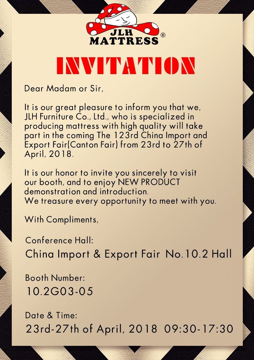 JLH-INVITATION for 123rd Canton Fair | Buy Mattress