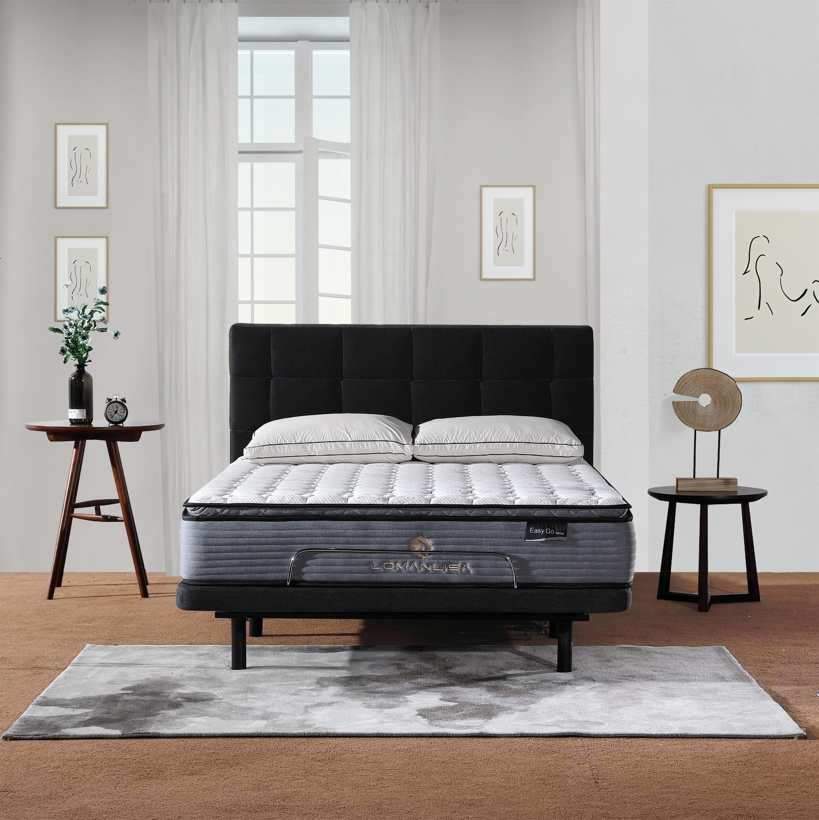 Pillow Top Design Electric Adjustable Bed with Quiet and Stable Motor in King Queen Size-10