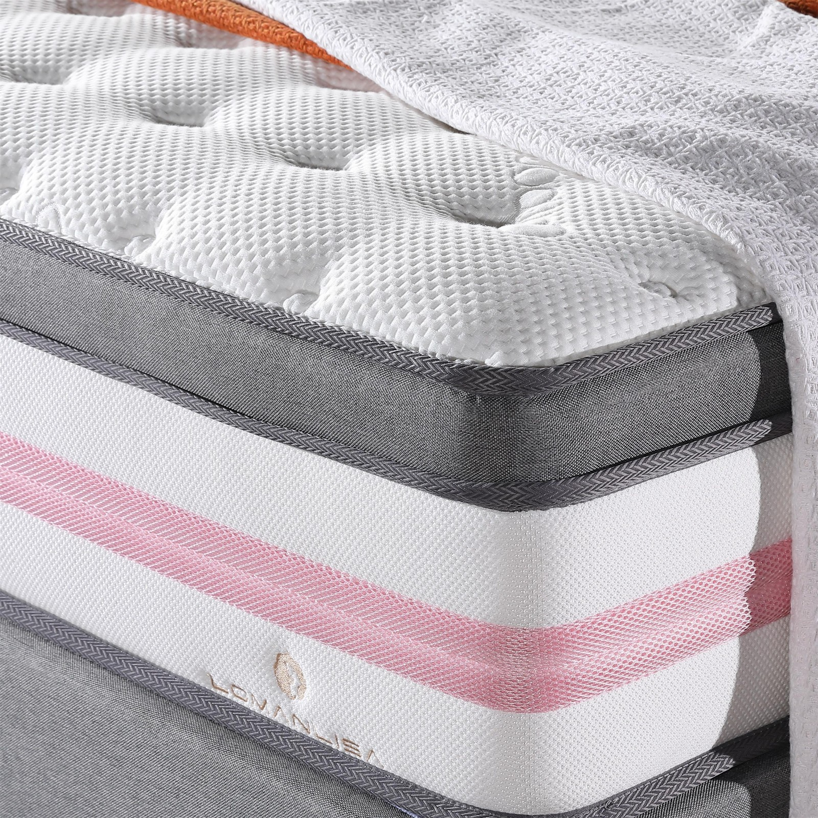 Euro Top Design Princess Pink 5 Zoned Wool Darcon Foam Pocket Spring Mattress with Anti-Mite Function-3