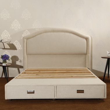 CJ-40 Storage Drawers Trong Wood Slat Support Cushion Backboard Bed