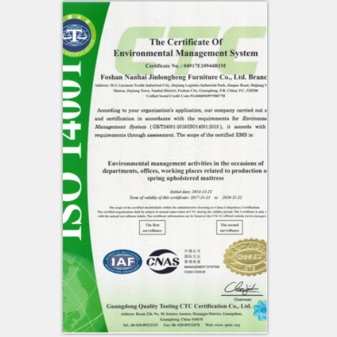 The Certificate of Environmental Management System
