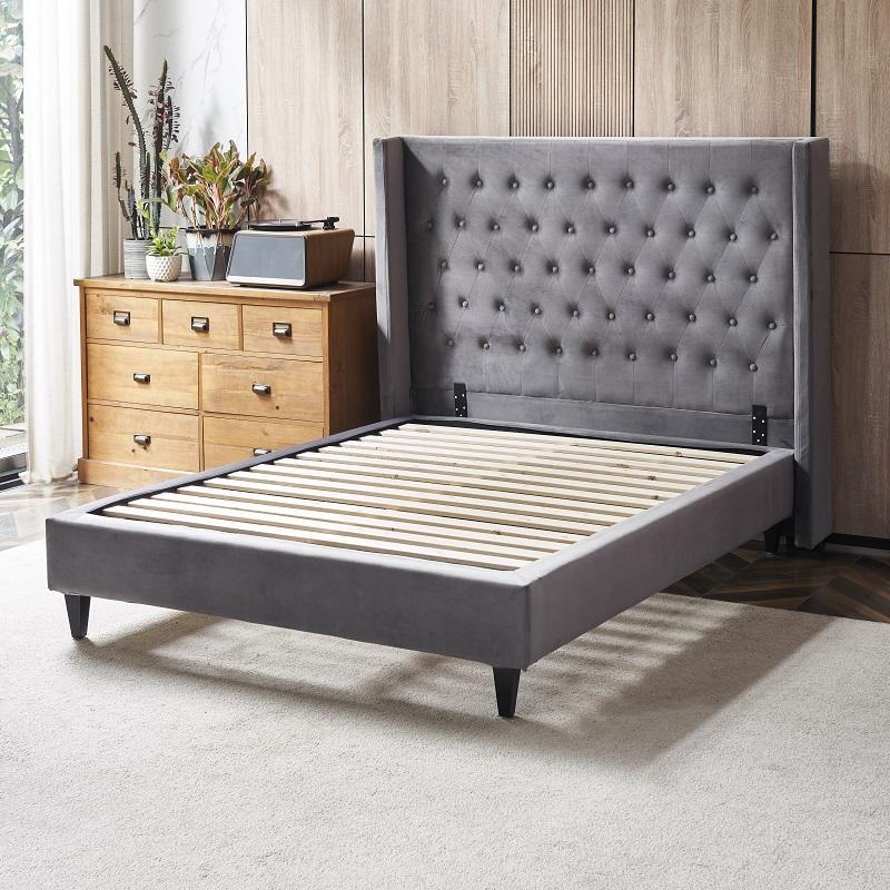 MB3390 TIME CAPSULE Classic Modern Velvet Fabric Upholstered Headboard