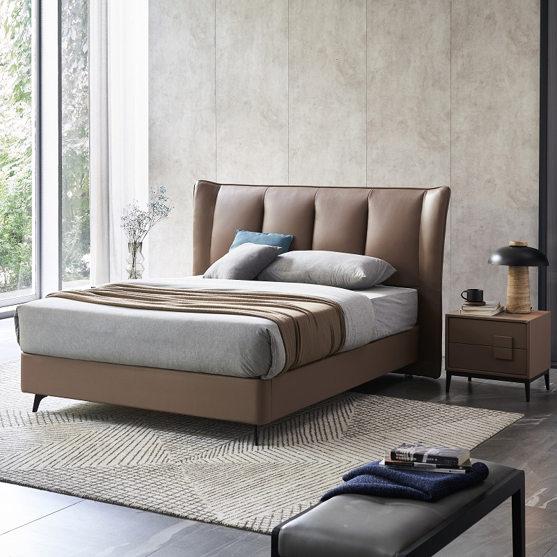 product-JLH-MP2802 TIME CAPSULE Luxury Comfortable Real Leather Bed Frame With Headboard-img