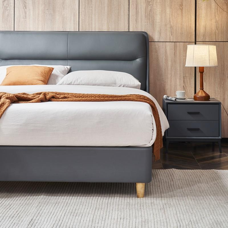 MP2809 TIME CAPSULE Classic Unique Design Leather Bed Frame With Headboard