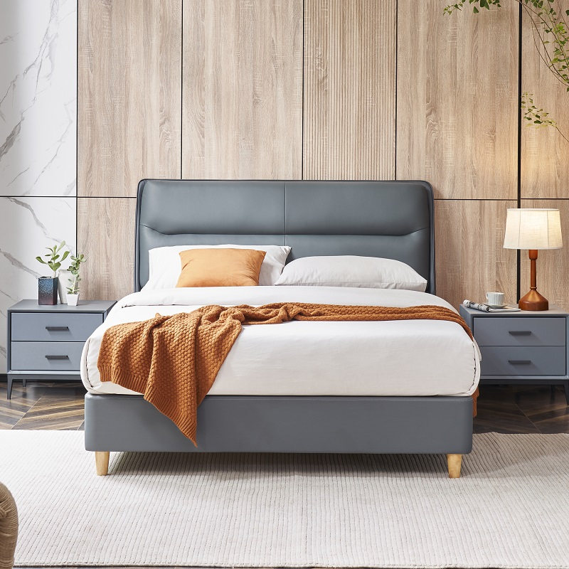 product-JLH-MP2809 TIME CAPSULE Classic Unique Design Leather Bed Frame With Headboard-img
