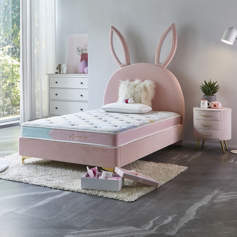 product-JLH-MB2835 TIME CAPSULE Lovely Upholstered Bed Frame With Headboard For Children-img