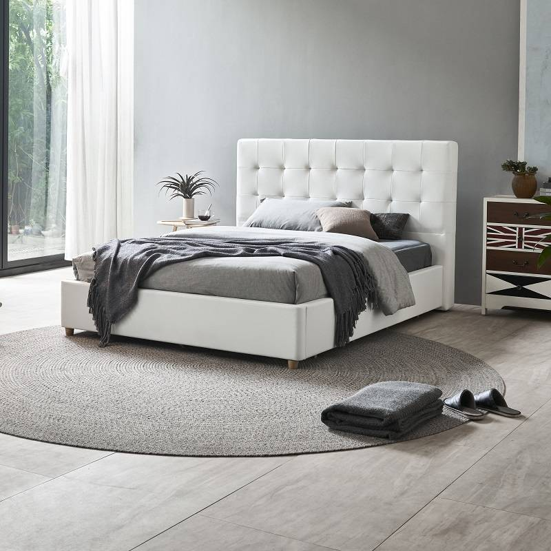 MB3332 TIME CAPSULE Modern Upholstered Storage Leather Bed Frame With Headboard
