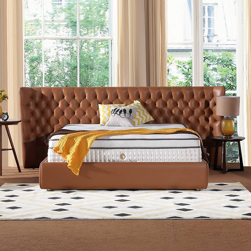 JLH 2018 Hand Tufted Mattress Double Spring Latex Mattress with High Quality Ice Silk Fabric Hand-tufted Mattress image2