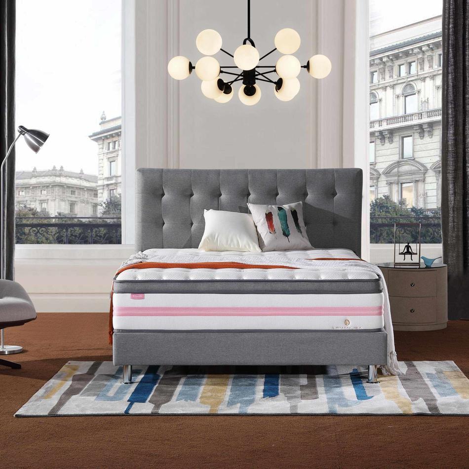 34PA-59   Euro Top Design Princess Pink 5 Zoned Wool Darcon Foam Pocket Spring Mattress with Anti-Mite Function
