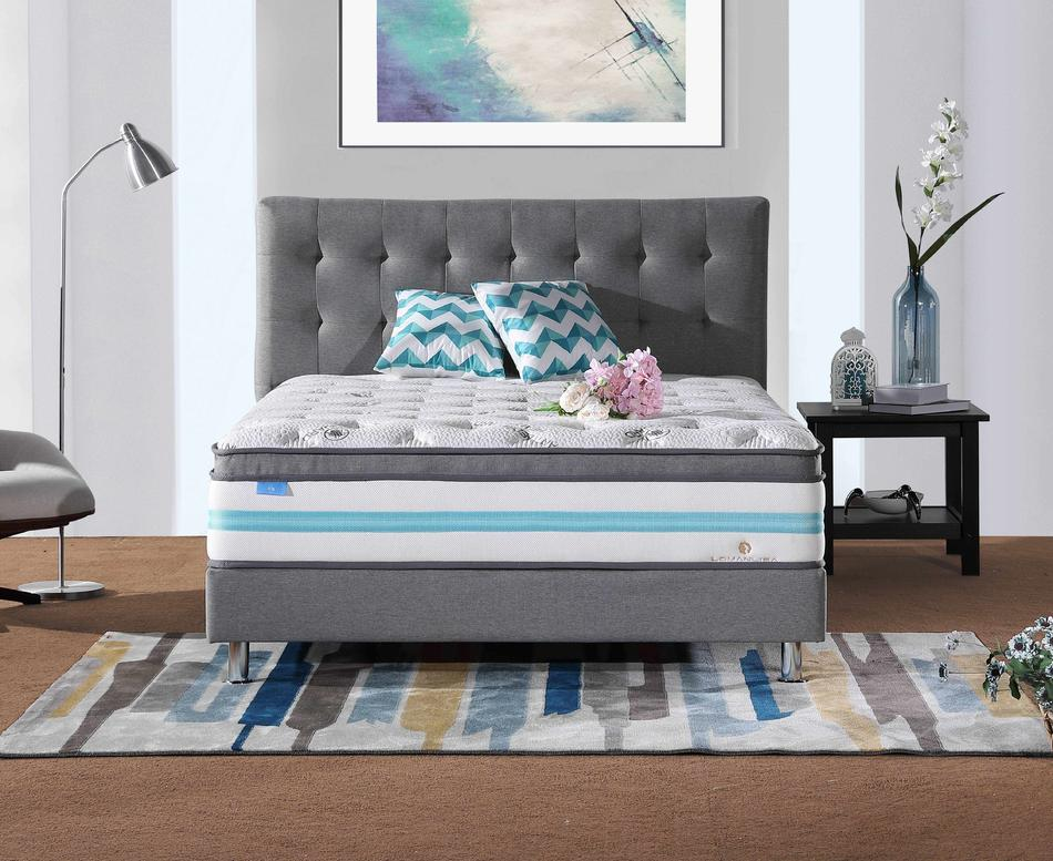 34PA-60   Reasonable and Fashionable High Density Soft Convoluted Foam 5 Zones Mattress with Double Layers Pocket Spring