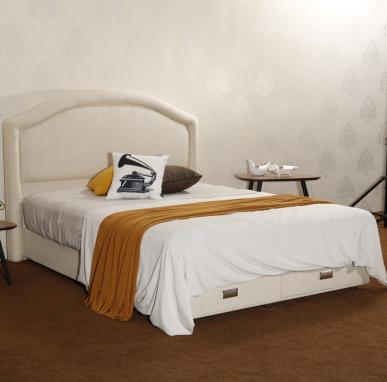 CJ-40 Storage Drawers Trong Wood Slat Support Cushion Backboard Bed