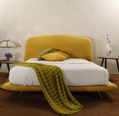 MB3346 Wooden King Full Size Upholstered Bed Frame With Headboard Bright Yellow
